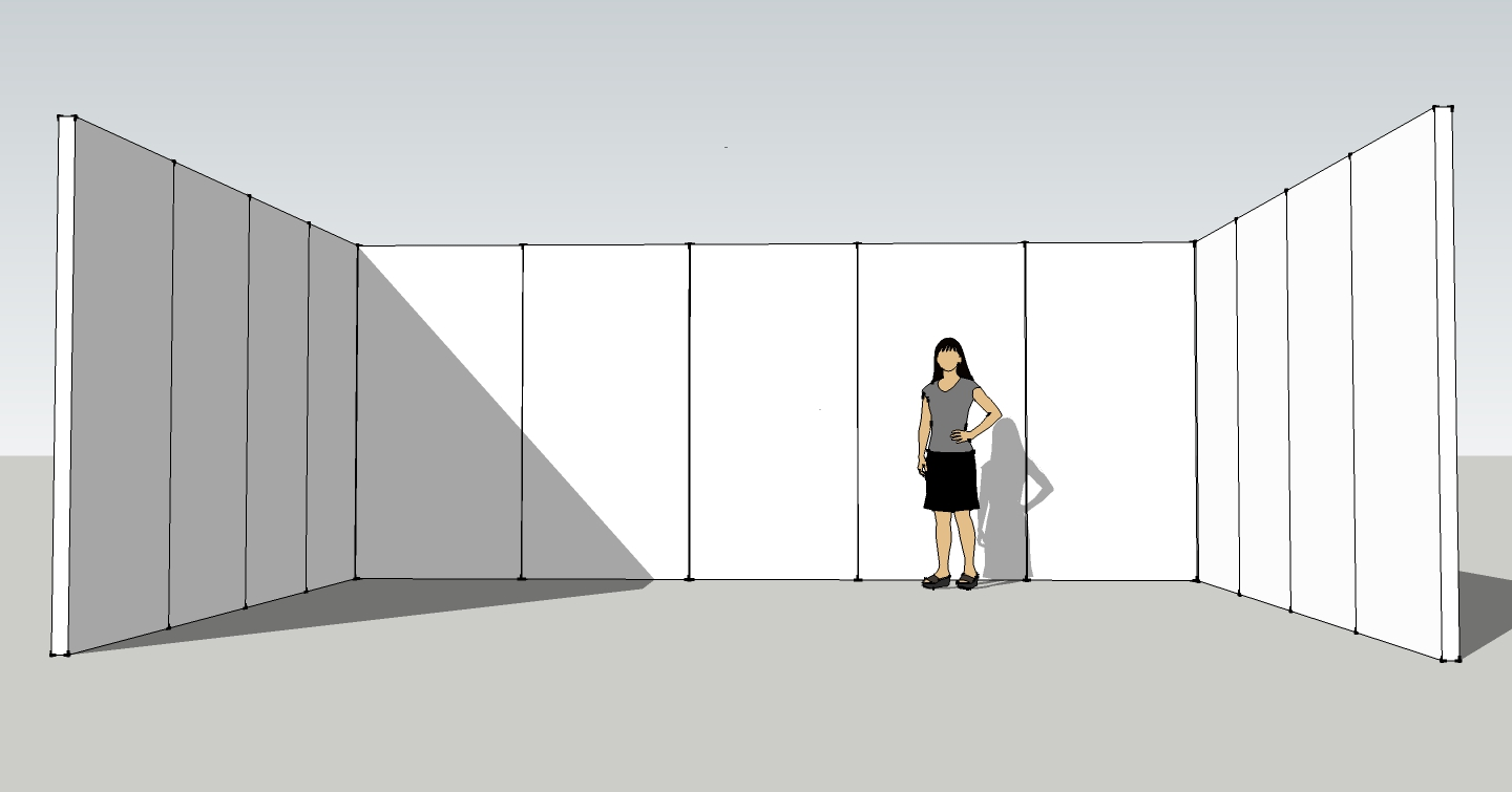 A google sketchup show the initial plan for a set of theater flats that would form the walls of our set.
