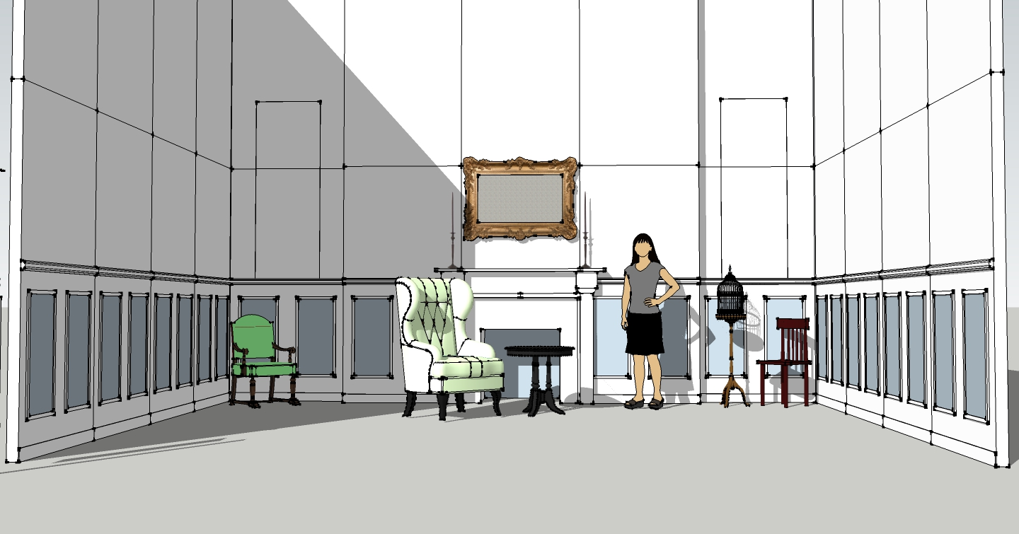 This pre-visualization rendering helped us figure out the scale of items we acquired to decorate our set in relation to the room, all before it was constructed.
