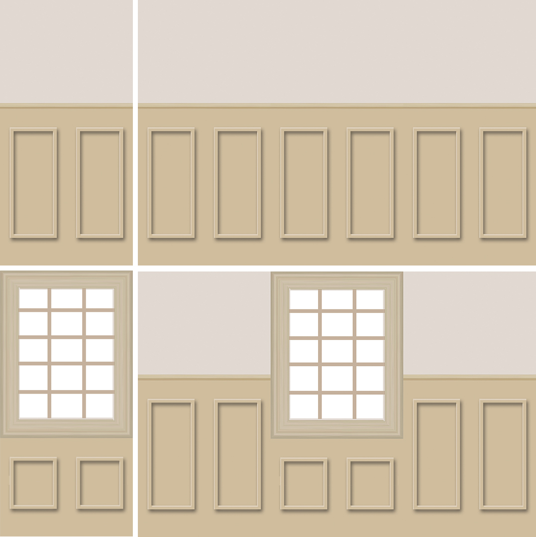 This early design mockup shows the details of a plain wall flat and a window flat, and how they will fit together in sequence.